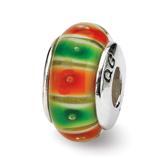 Sterling Silver Reflections Green/Orange Hand-blown Glass Bead