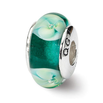 Sterling Silver Reflections Blueish Green Floral Hand-blown Glass Bead