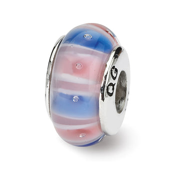 Sterling Silver Reflections Blue/Pink Hand-blown Glass Bead