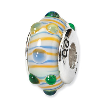 Sterling Silver Reflections Blue/ Green/Yellow Hand-blown Glass Bead