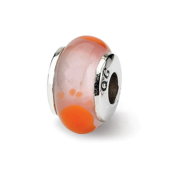 Sterling Silver Reflections Kids Orange Foot Mur.Glass Bead
