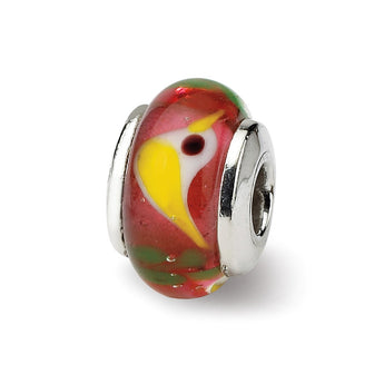 Sterling Silver Reflections Kids Red Bird Mur.Glass Bead