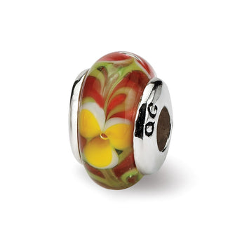 Sterling Silver Reflections Kids Red Hand-blown Glass Bead