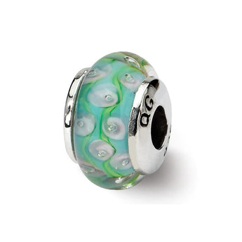 Sterling Silver Reflections Kids Green Blue Hand-blown Glass Bead