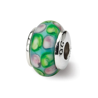 Sterling Silver Reflections Kids Blue Hand-blown Glass Bead