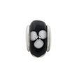 Sterling Silver Reflections Kids Black Hand-blown Glass Bead