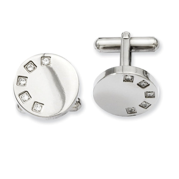 Stainless Steel CZ Cuff Links