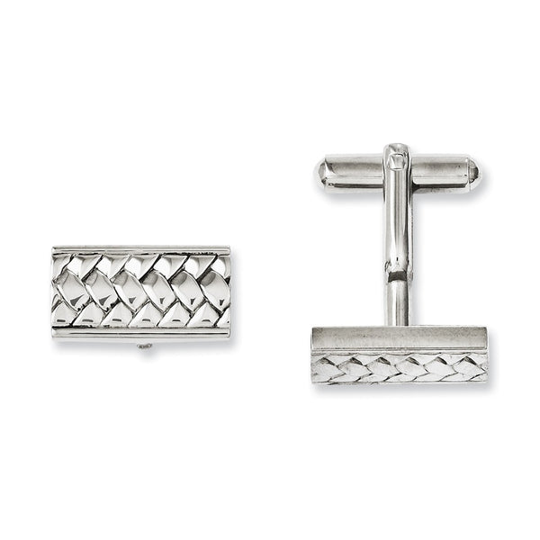 Stainless Steel Textured & Polished Cuff Links