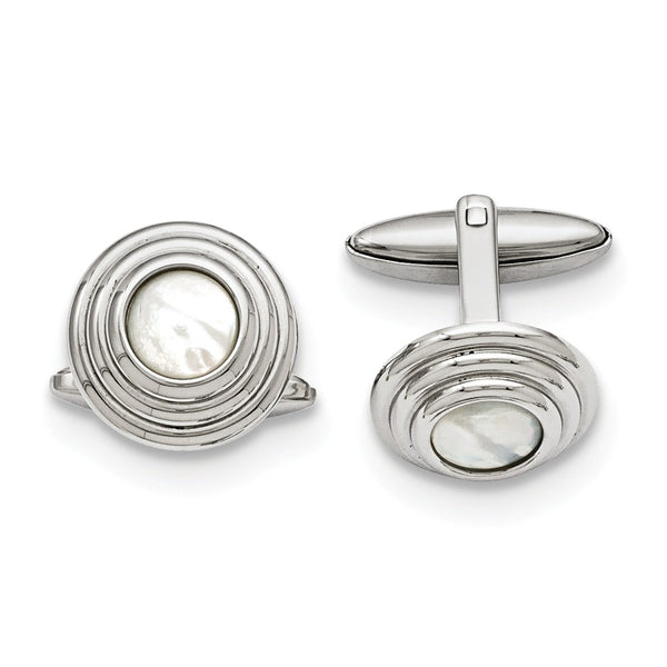 Stainless Steel Mother of Pearl Polished Cuff Links