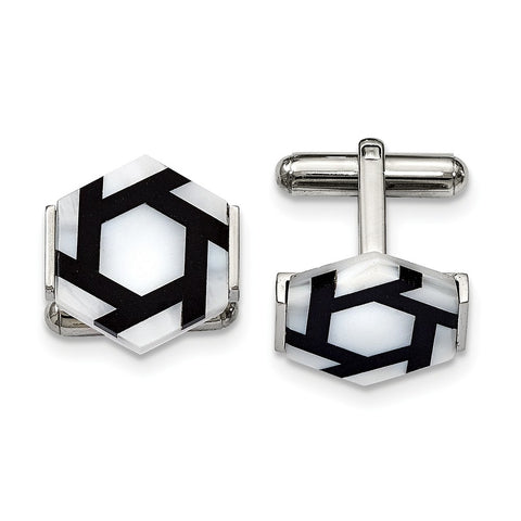 Stainless Steel Polished Hexagon Mother Of Pearl/Blk Agate Cuff Links