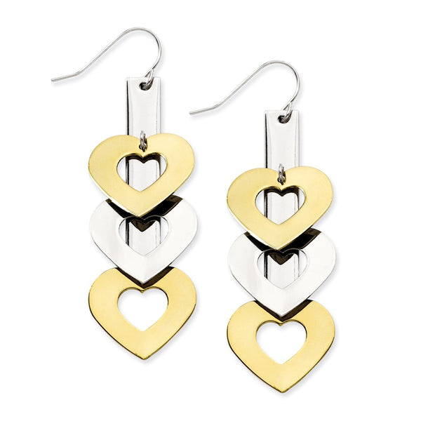 Stainless Steel Yellow IP-plated & Polished Hearts Dangle Earrings