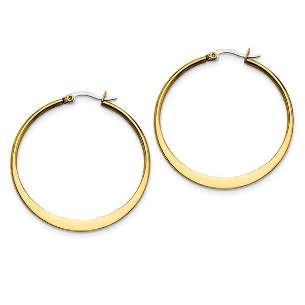 Stainless Steel Gold IP plated Tapered 43mm Hoop Earrings