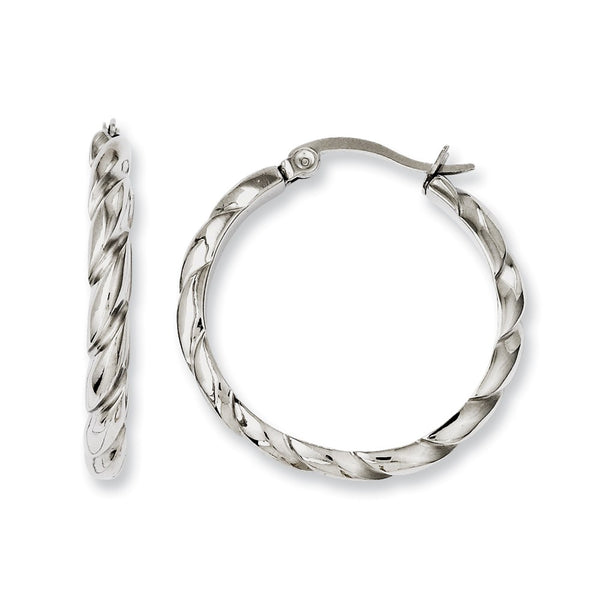 Stainless Steel Polished & Textured Hoop Earrings