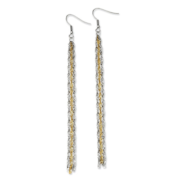 Stainless Steel Polished & Yellow IP-plated Long Dangle Earrings