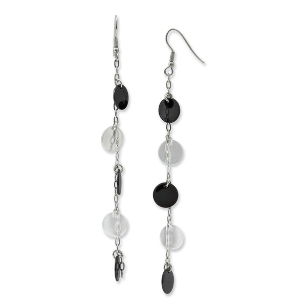 Stainless Steel Black IP-plated & Polished Discs Dangle Earrings