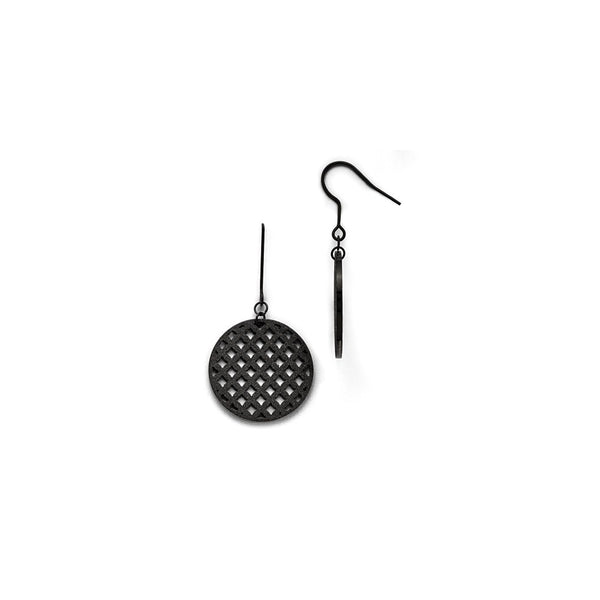 Stainless Steel Black IP-plated Dangle Earrings