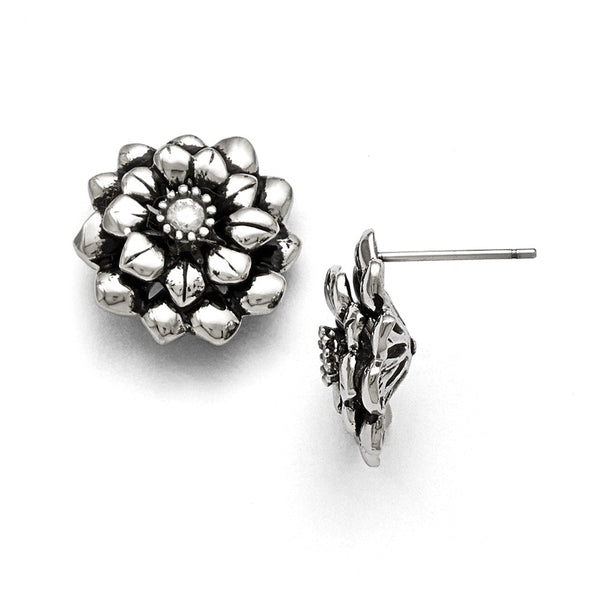 Stainless Steel Polished and Antiqued Flower CZ Post Earrings