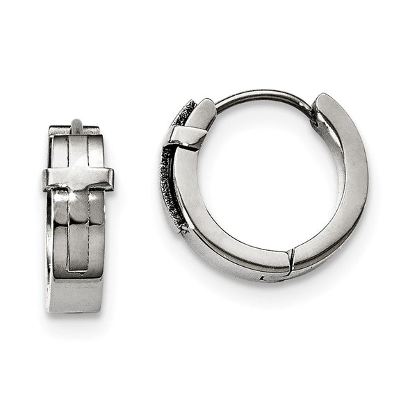 Stainless Steel Polished Hinged Hoop Earrings
