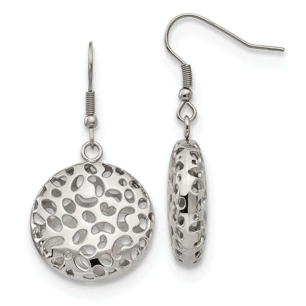 Stainless Steel Polished Puffed Cut-out Design Shepherd Hook Earrings