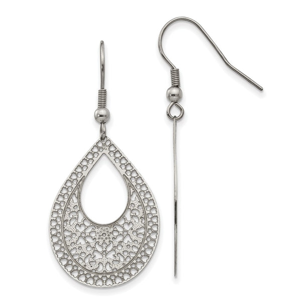 Stainless Steel Polished Textured Cut-out Design Dangle Earrings