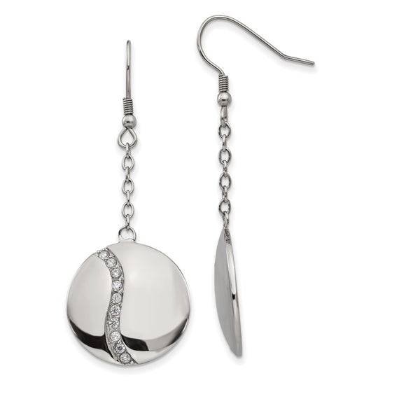 Stainless Steel Polished w/ CZ Dangle Shepherd Hook Earrings
