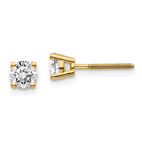 14ky .70ct. SI3 G-I Diamond Stud Thread on/off Post Earrings