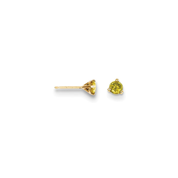 14k .33ct. Yellow Diamond Stud Earrings