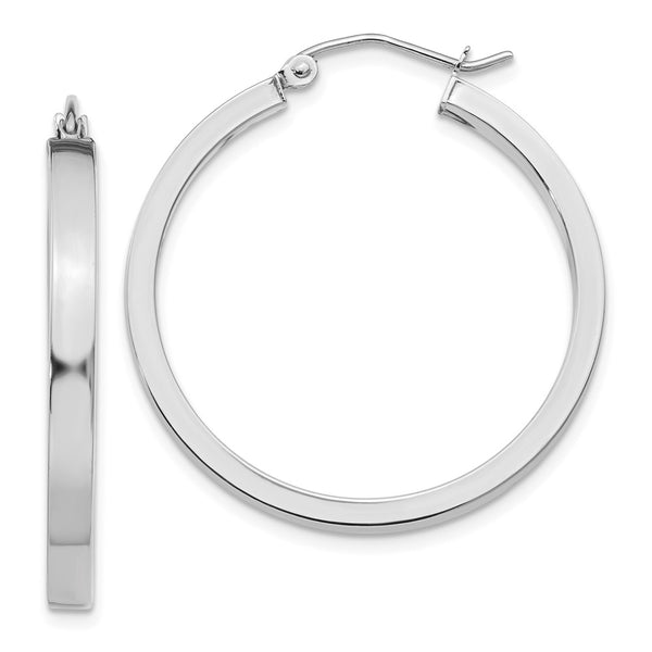 14k White Gold 2x3mm Rectangle Tube Hoop