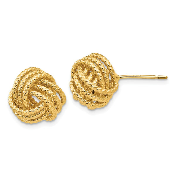 14k Polished & Twisted Love Knot Post Earrings