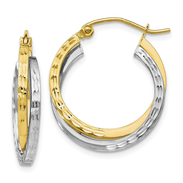 Leslie's 10K Two-tone Textured Hinged Hoop Earrings