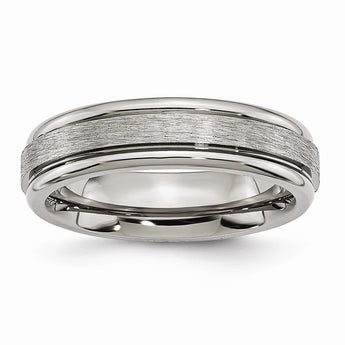 Titanium Grooved Edge 6mm Satin and Polished Band