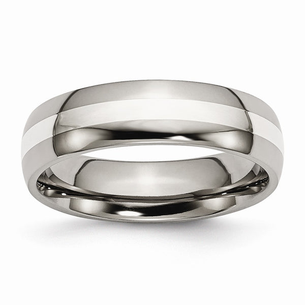 Titanium Sterling Silver Inlay 6mm Polished Band