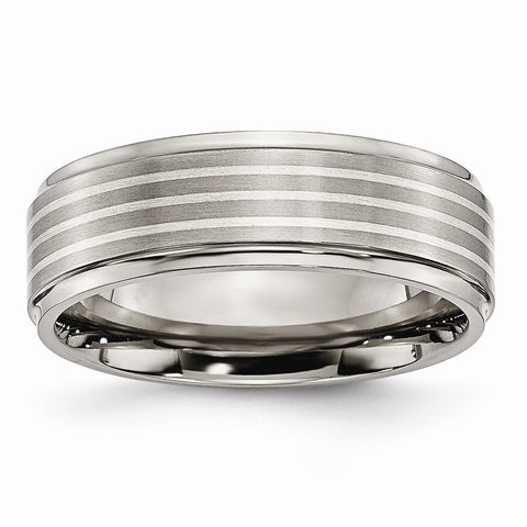 Titanium Ridged Edge Sterling Silver Inlay 7mm Brushed/Polished Band