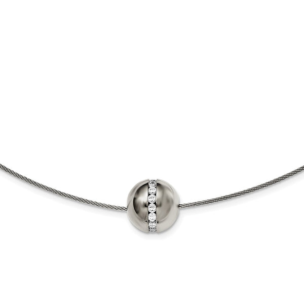 Titanium CZ Pendant with Polished Stainless Steel Wire Necklace