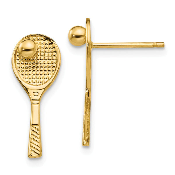 14k Tennis Racquet w/Ball Post Earrings