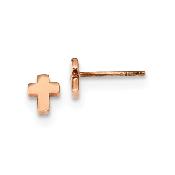 14k Rose Gold Polished Small Cross Post Earrings