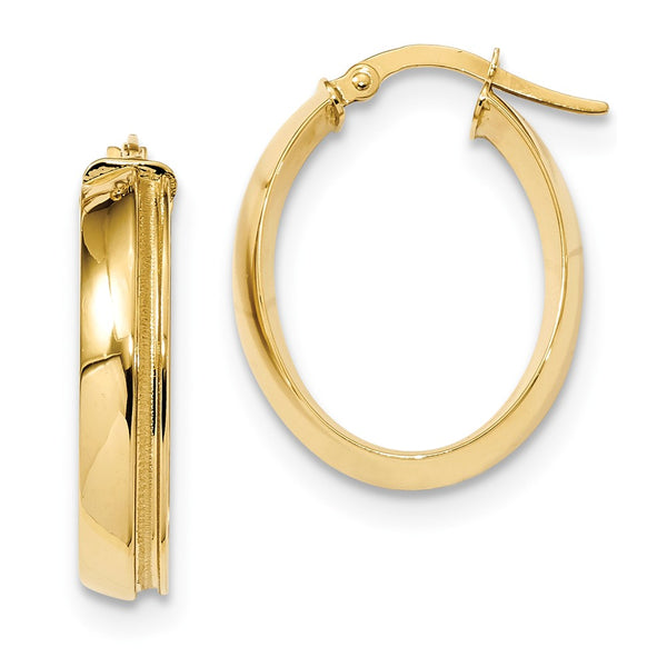 14K Polished & Laser Textured Oval Hinged Hoop Earrings