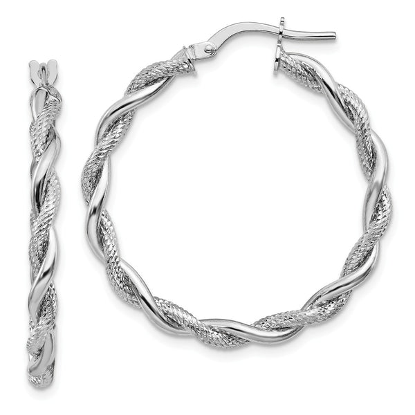 14k White Gold Polished Textured Hoops