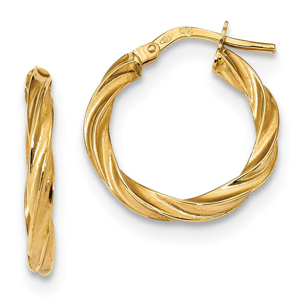 14k Satin & Polished Twisted Hoop Earrings