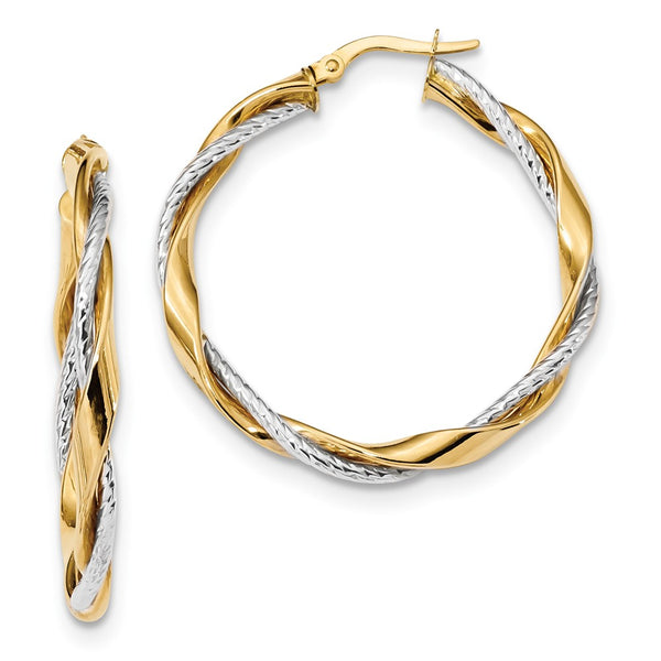 14k Two-tone Polished Rope Twisted Hoop Earrings