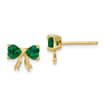 14k Gold Polished Created Emerald Bow Post Earrings