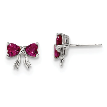 14k White Gold Polished Created Ruby Bow Post Earrings
