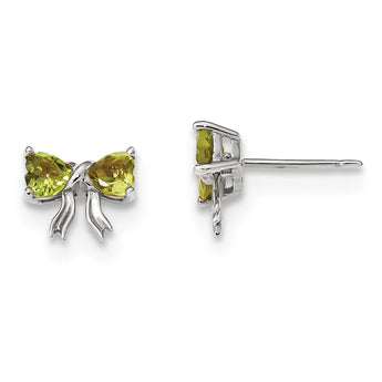 14k White Gold Polished Peridot Bow Post Earrings