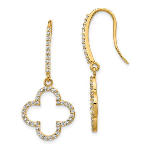 14k Diamond Quatrefoil Design Dangle Earrings