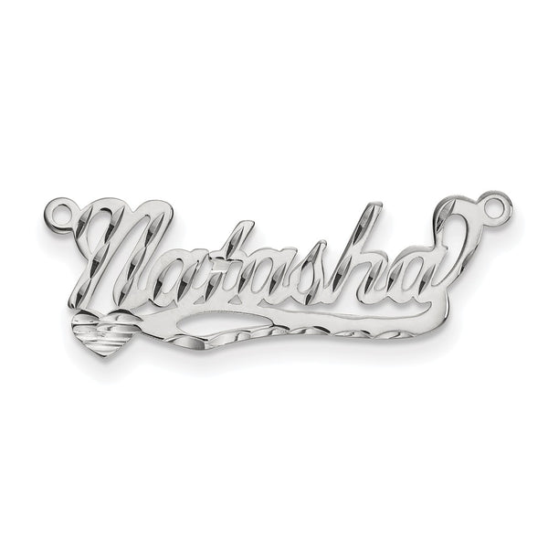 Sterling Silver Rhod-plated .027 Gauge Polished Diamond-cut Name Plate