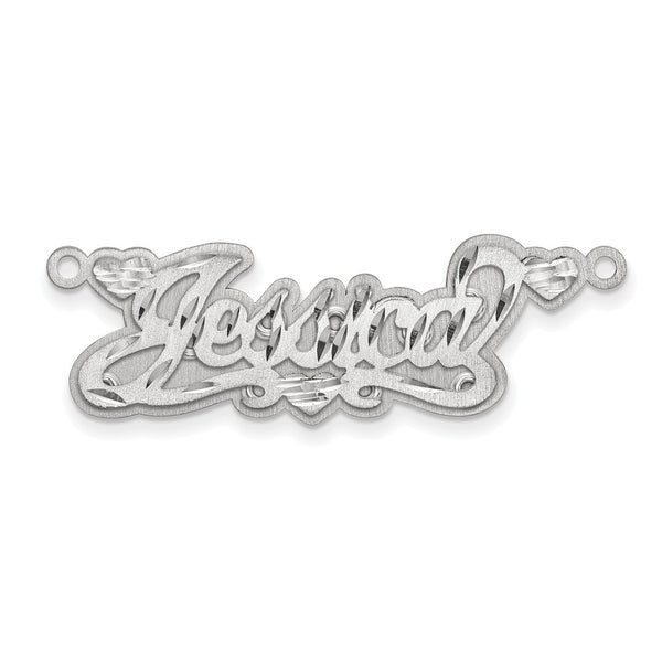 Sterling Silver Rhodium-plated Diamond-cut Satin 3D Name Plate