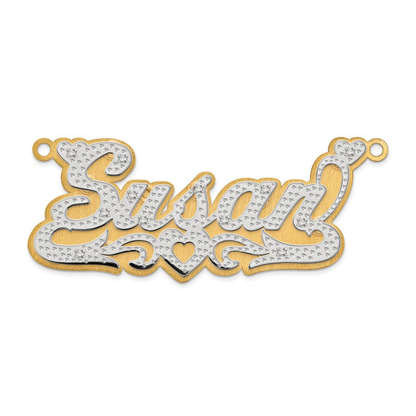 14k 3-Dimensional Diamond  Name Plate Pendant
