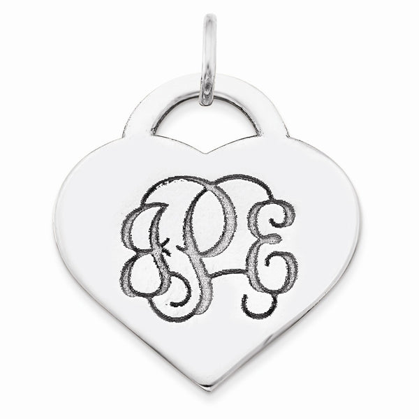Sterling Silver Rh-plt Laser Cut High Polished Heart Monogram Pendant