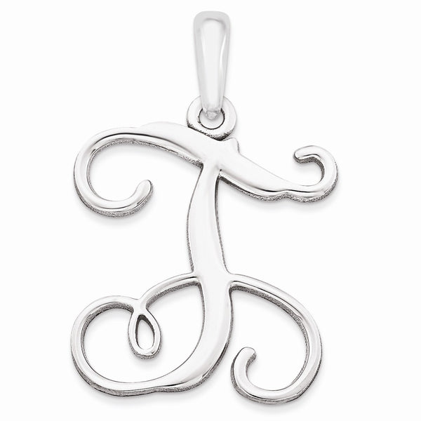 Sterling Silver Rhodium-plated Casted High Polished Initial Pendant
