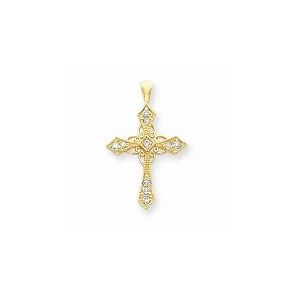 14k AA Diamond Cross Pendant